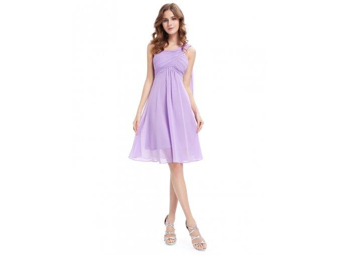 Lila světle fialové krátké společenské šaty po kolena koktejlky na jedno rameno