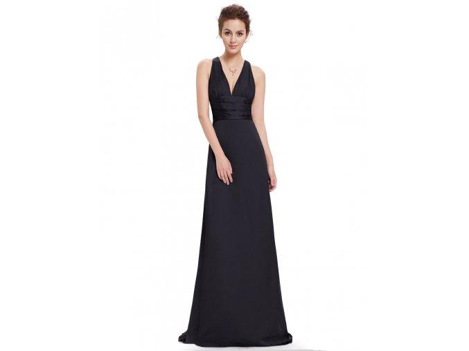 Černé dlouhé saténové společenské šaty s vlečkou za krk 2
