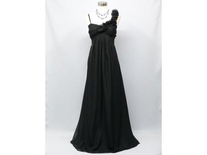 Dlouhé černé plesové večerní šaty empirického střihu pro těhotné či plnoštíhlé c1928