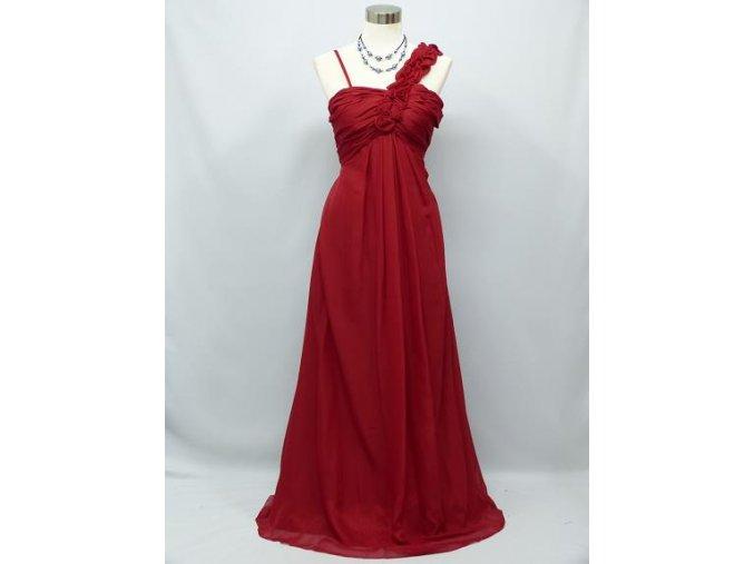 Červené dlouhé společenské šaty antického střihu pro těhotné a plnoštíhlé C2396