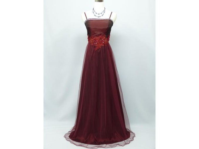 Červene bordó vínové společenské šaty s organzou na ples C2889