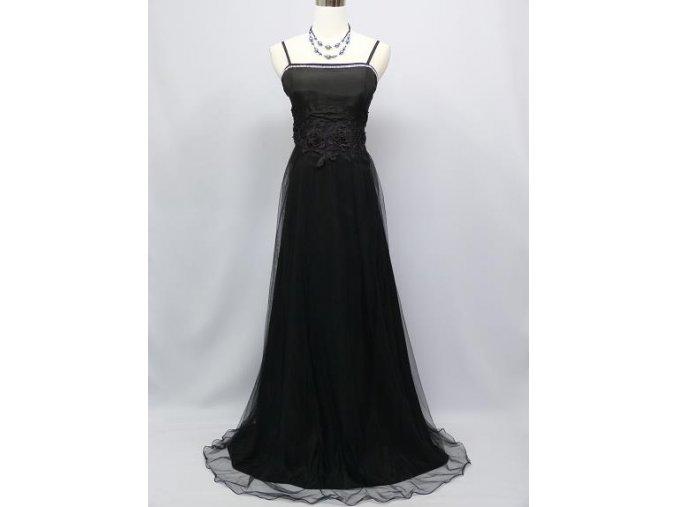 Černé dlouhé společenské šaty s organzovou sukní C2895