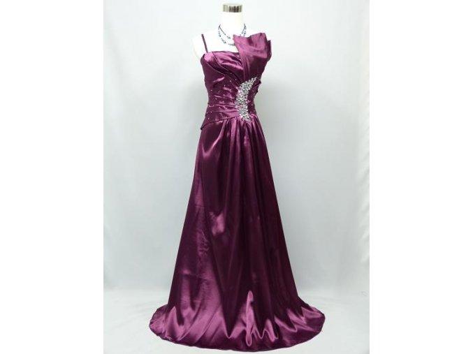 Fialové dlouhé elegantní společenské šaty s jamínky nabírané C2794