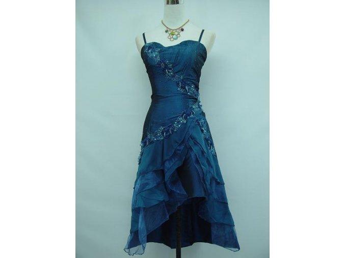 Modré krátké společenské šaty koktejlky s volány taneční