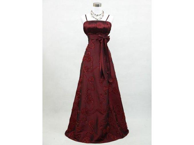 Červené vínové bordó společenské šaty na svatbu na ples