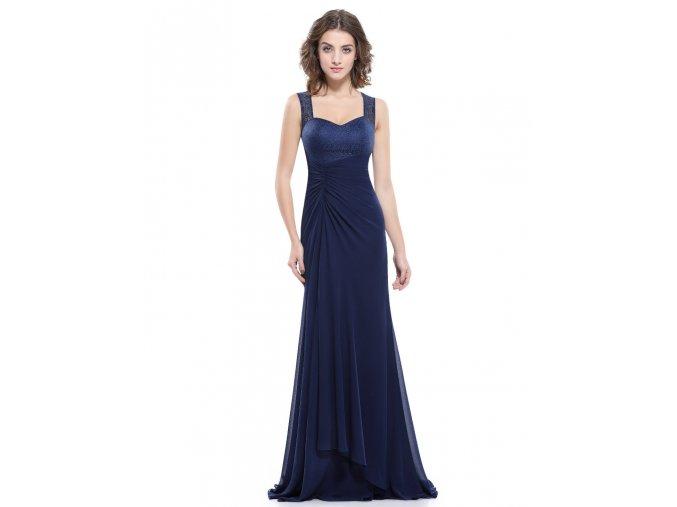 Tmavě modré dlouhé společenské šaty s krajkou a ramínky na ples nařasené 3