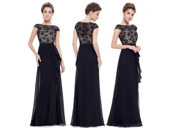 Černé krajkové společenské šaty s béžovým topem volánem rozparkem na ples 1