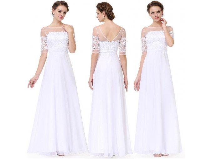 Bílé dlouhé elegantní svatební šaty s krajkou a rukávy na svatbu