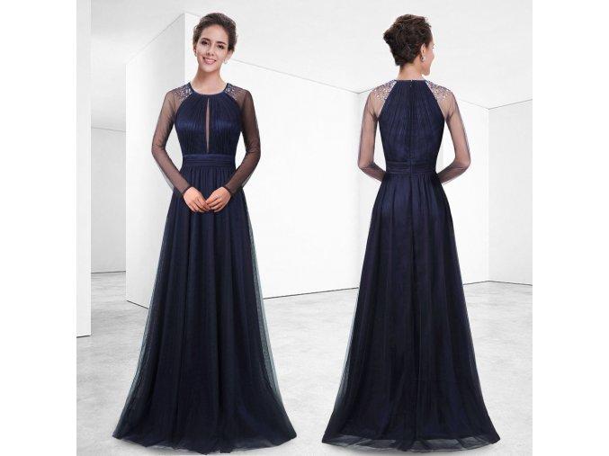 Tmavě modré plesové večerní šaty s rukávem a peličkami ke krku 1