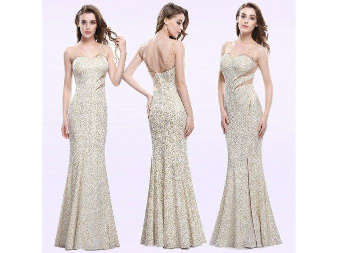 Zlaté dlouhé pouzdrové luxusní plesové šaty na svatbu