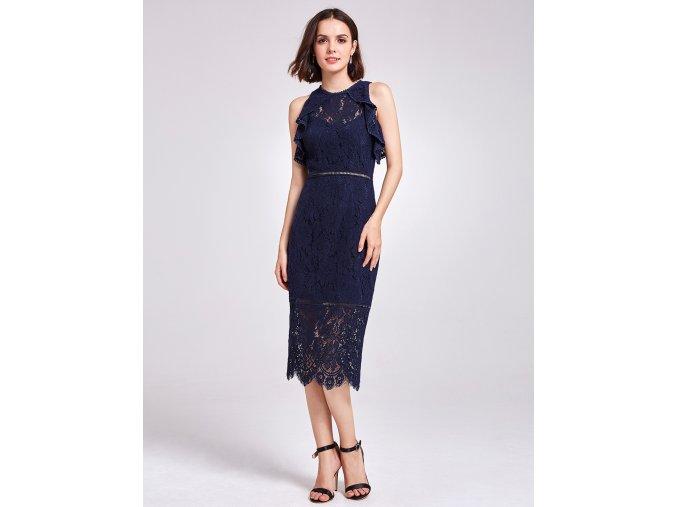 Tmavě modré krátké krajkové společenské šaty koktejlky na ples 2