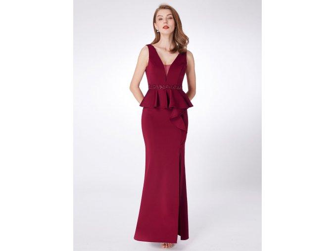 Červené vínové úplé společenské šaty s volány a rozparkem 3