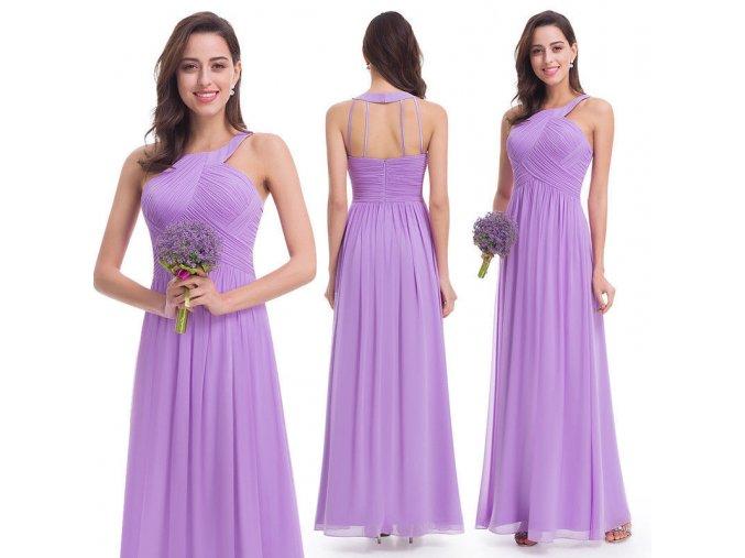 Lila fialové dlouhé společenské šaty za krk na ples