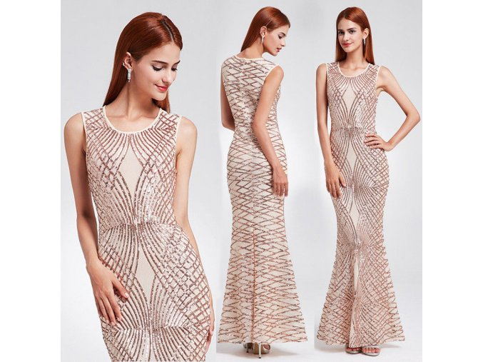 Tělové béžové elastické společenské šaty se zlatými flitry sexy