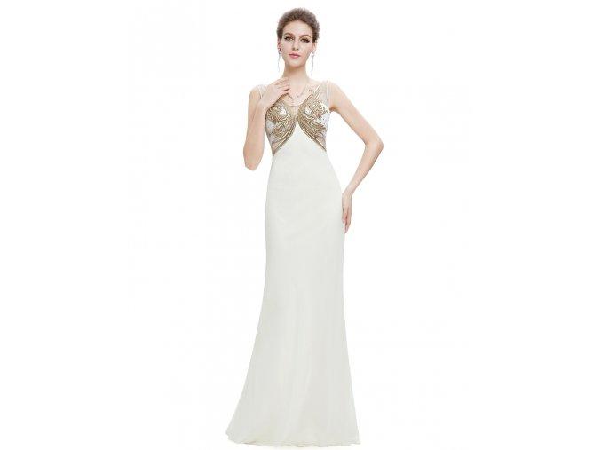 Bílé zlaté luxusní svatební společenské šaty