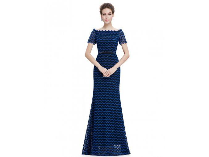 Černé modré společenské šaty pruhované 1