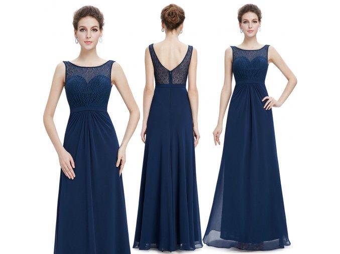 Modré tmavé dlouhé společenské šaty vhodné pro těhotné krajkové 1