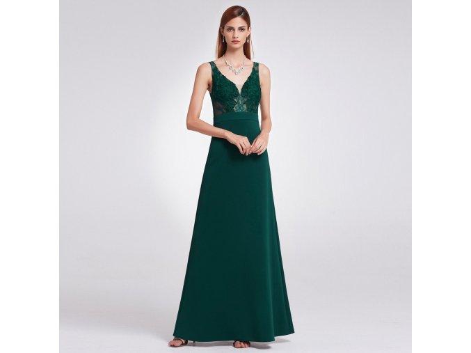 Tmavě zelené společenské šaty s krajkou na ramínka