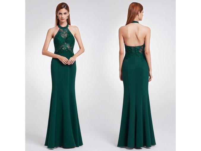 Zelené dlouhé společenské šaty za krk s krajkou na ples