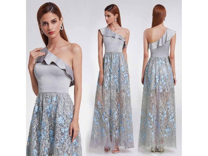 Šedé dlouhé společenské šaty na jedno rameno s volánem 6