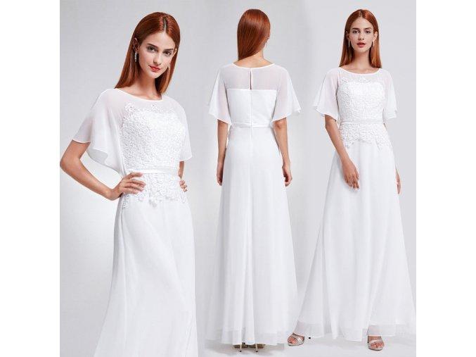 Bílé dlouhé luxusní svatební šaty s rukávem