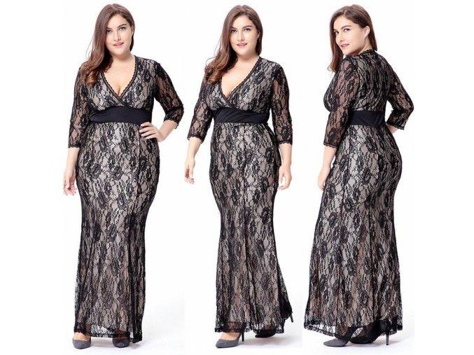 Černé krajkové společenské šaty s rukáve pro plnoštíhlé baculky