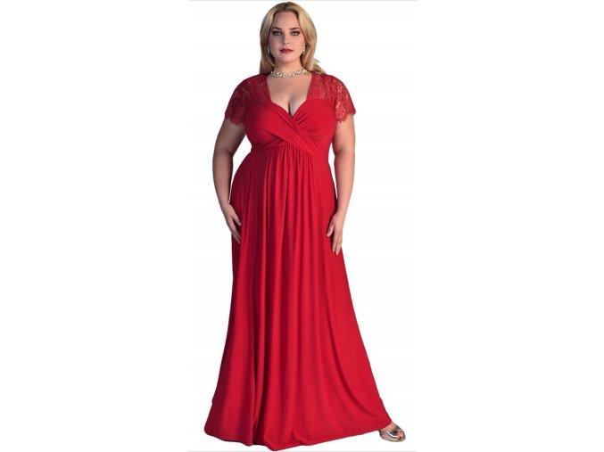 Červené plussize společenské šaty pro plnoštíhlé s krajkou pro těhotné 1