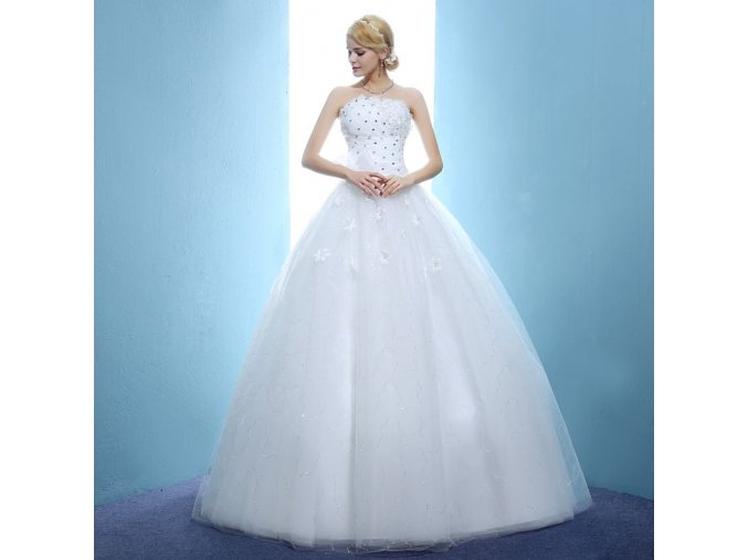 Bílé dlouhé luxusní svatební šaty s kopretinami pro nevěstu