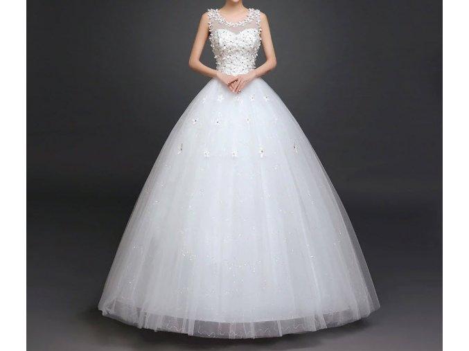 Bílé dlouhé luxusní svatební šaty s kopretinami a kvítky