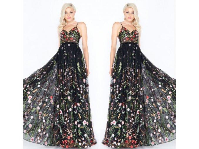 Černé společenské šaty s květinami poloprůhledné krajkové až na zem