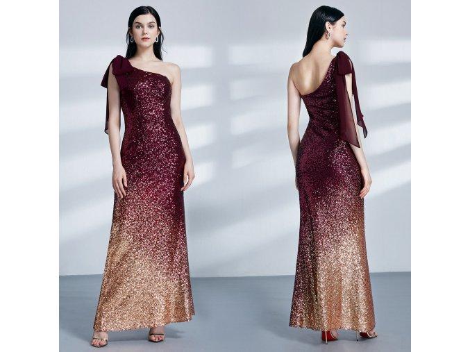 červené společenské šaty na jedno rameno z flitrů sexy