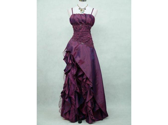 Tmavě fialové společenské šaty s volánovou sukní B5676a