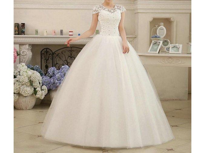 Bílé dlouhé luxusní svatební šaty s krajkovým topem rukávky