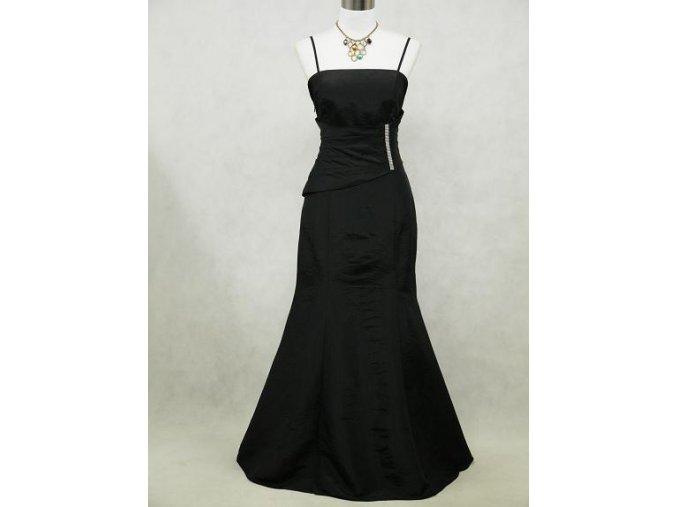 Černé dlouhé elegantní šaty pro plnoštíhlé na ples prvorepublikové
