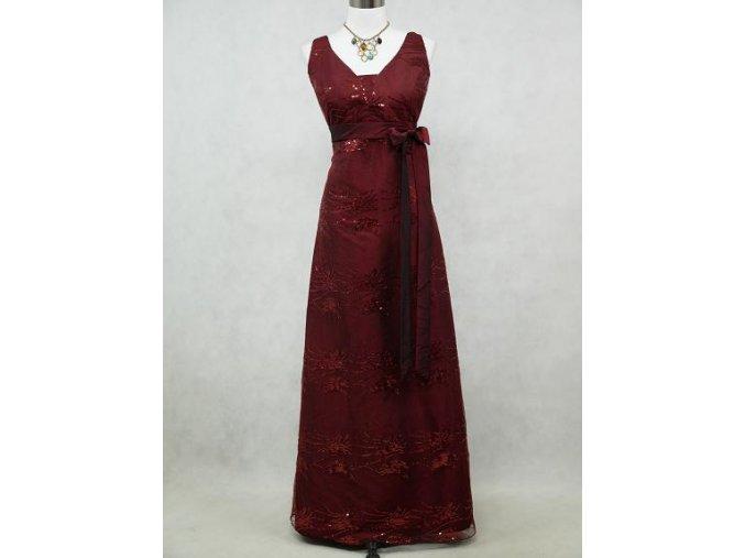 Červené bordó vínové společenské šaty na široká ramínka s krajkou