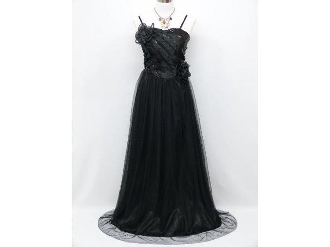 Černé společčnské šaty se sklady na ples na svatbu C3971a