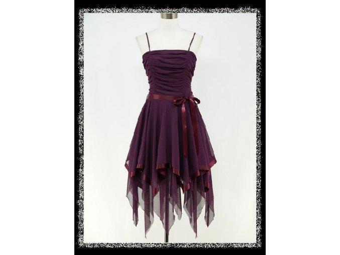 Fialové krátké společenské šaty taneční cípaté DR0295