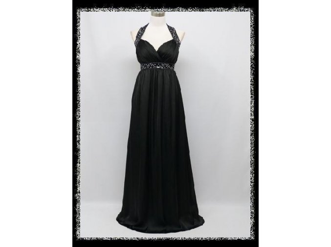 Černé dlouhé šaty za krk s flitry i pro těhotné DR1113