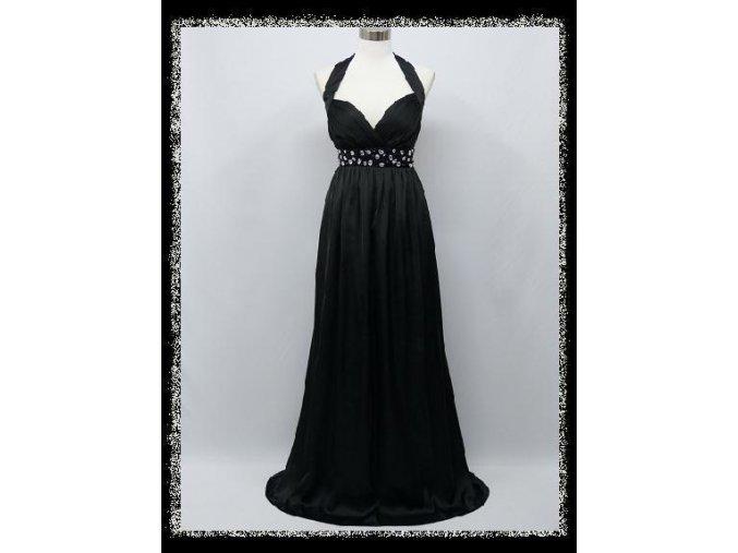 Černé dlouhé šaty za krk s kamínky pod prsy i pro těhotné DR1393