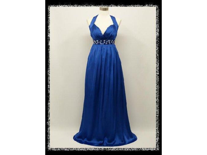 Modré dlouhé plesové šaty za krk s kamínky pod prsy i pro těhotné DR1435