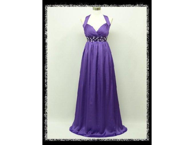 Fialové levandulové lila dlouhé šaty za krk s kamínky pod prsy i pro těhotné DR1399