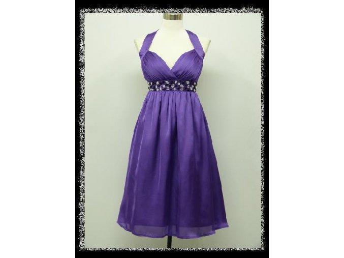 Fialové levandulové lila krátké šaty koktejlky za krk s kamínky pod prsy i pro těhotné DR1420