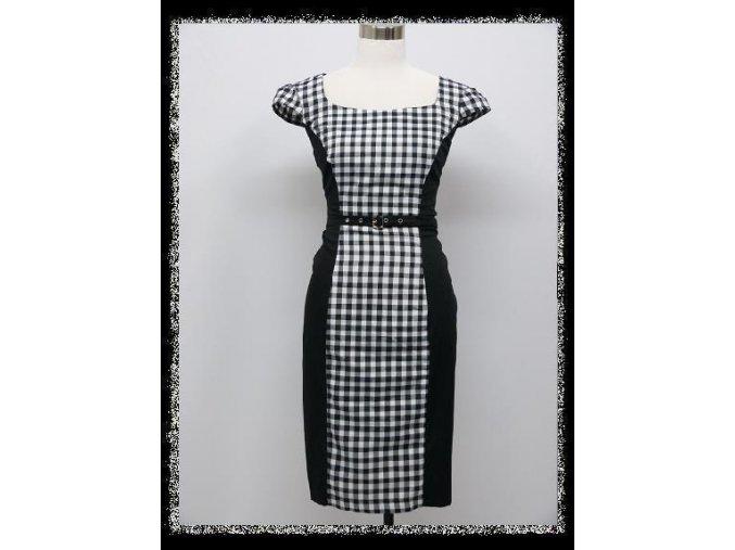 Černobílé kostkované pouzdrové business šaty po kolena DR1469