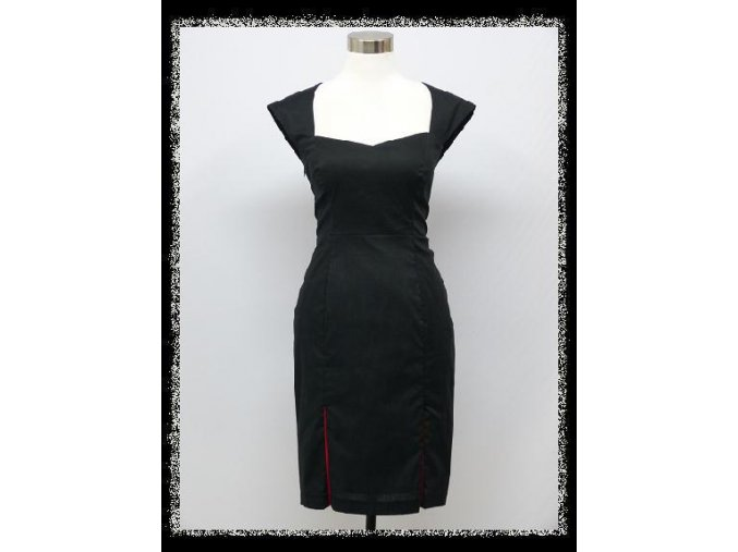 Černé sexy pouzdrové šaty s ozdobnými rozparky DR1557