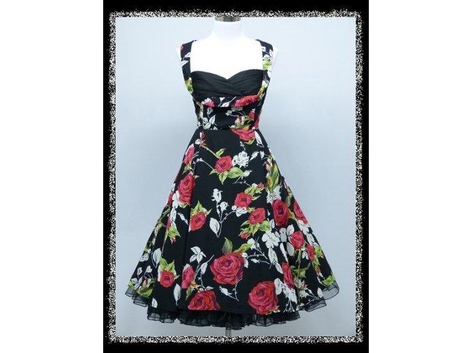 Černé barevné krátké společenské retro šaty po kolena se sexy výstřihem DR1701a