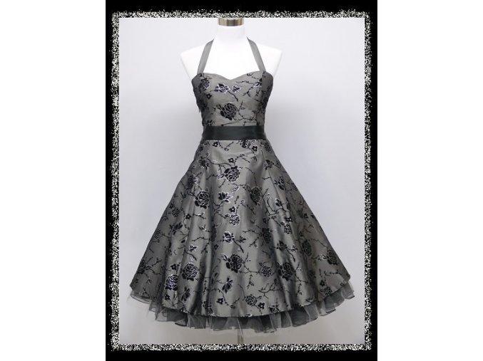 Stříbrné šedé krátké společenské šaty s potiskem za krk koktejlky DR1716a