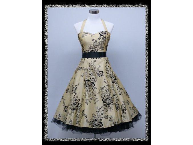 Béžové černé krátké společenské šaty koktejlky za krk DR1725a