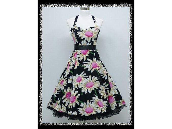 Černé květinové krátké letní šaty za krk na svatbu na ples DR1733a