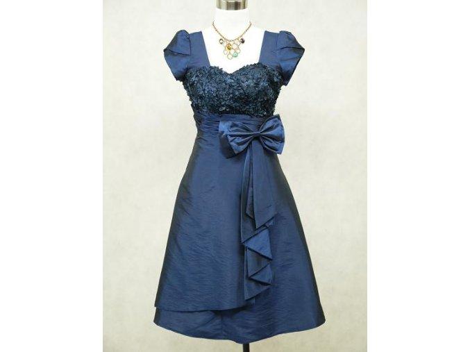 Modré krátké společenské šaty na ples s rukávkem B7578a