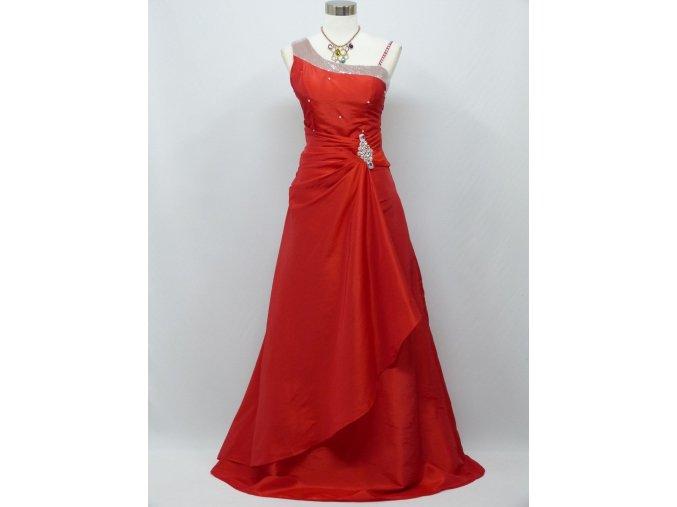 Červené dlouhé společenské šaty se štrasem na svatbu na ples c0368a